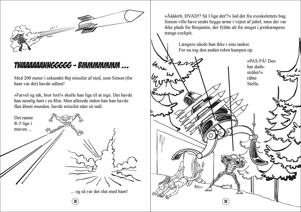"""Opslag fra det næste bind i science-fiction-bogserien for børn, """"Gustav og Raketbroderskabet"""". Sussi Bechs tegninger mangler endnu de flotte akvarelfarver."""