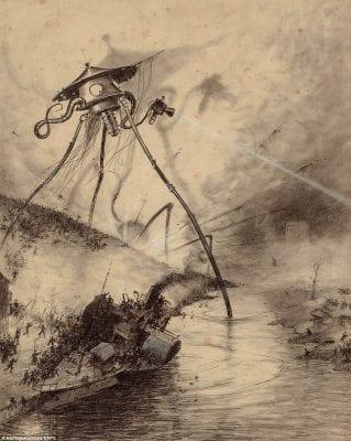 """Dødsstråler i fiktionen. Illustration fra 1906-udgaven af """"Klodernes Kamp"""", tegnet af Henrique Alvim Corrêa."""
