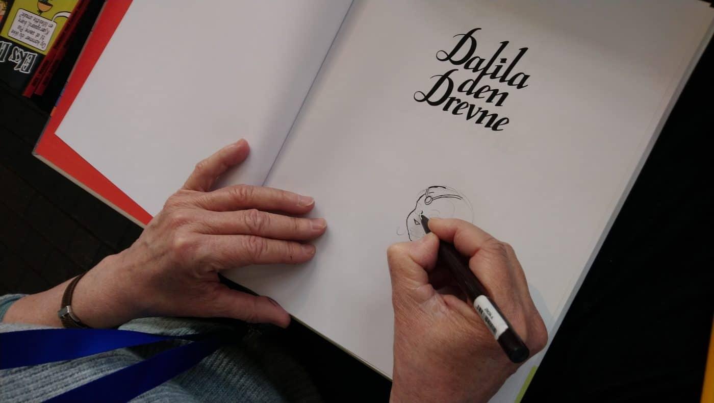 Signering af Dalila den Drevne, der blev totalt udsolgt fra forlaget under festivalen.