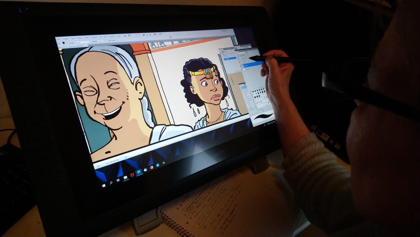 Sussi har tegnet store dele af albummet på sin Cintiq 22HD tegneskærm.