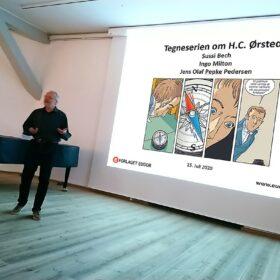 tegneserie tegneserier tegneserien om H.C. Ørsted og elektromagnetismen foredrag af Jens Olaf Pepke Pedersen